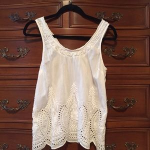Joie silk cotton white voile embroidered tank top